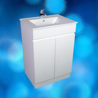 Vanity Cabinet – Model: FS-600H, Width 600mm x Depth 460mm x Height 870mm, Ceramic Vitreous China Top, Single Tap Hole, Two Door, White Gloss Finish, Hidden Handles, Free Standing. 2 Boxes. savvysavers.com.au Hindmarsh South Australia