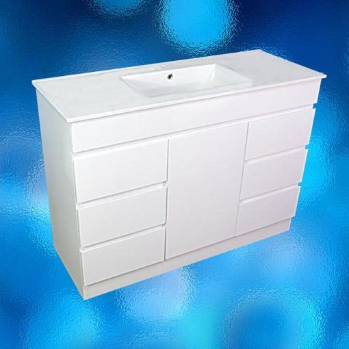 Vanity Cabinet – Model: FS-1200H, Width 1200mm x Depth 460mm x Height 870mm, Ceramic Vitreous China Top, Single Tap Hole, Single Door, 6 Drawer, White Gloss Finish, Hidden Handles, Free Standing. 2 Boxes. savvysavers.com.au Hindmarsh South Australia
