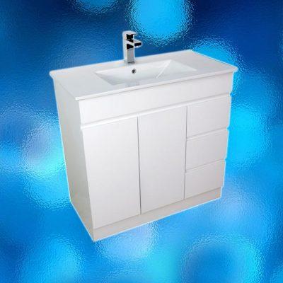 Vanity Cabinet – Model: FS-1200H, Width 1200mm x Depth 460mm x Height 870mm, Ceramic Vitreous China Top, Single Tap Hole, Single Door, 6 Drawer, White Gloss Finish, Hidden Handles, Free Standing. 2 Boxes. savvysavers.com.au Hindmarsh South Australia