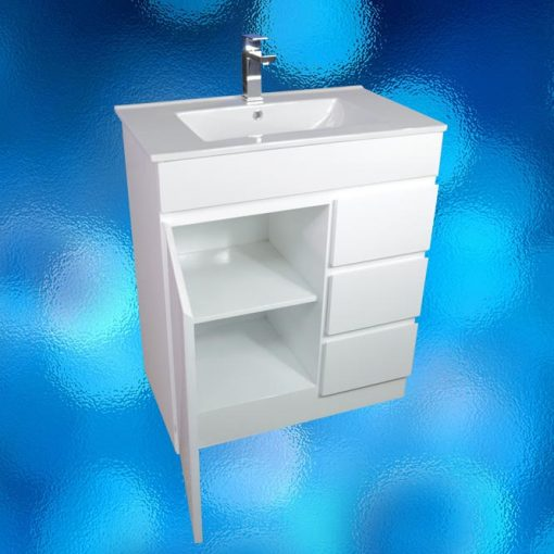 Vanity Cabinet – Model: FS-750H, Width 750mm x Depth 460mm x Height 870mm, Ceramic Vitreous China Top, Single Tap Hole, Single Door, 3 Drawer, White Gloss Finish, Hidden Handles, Free Standing. 2 Boxes. savvysavers.com.au Adelaide South Australia