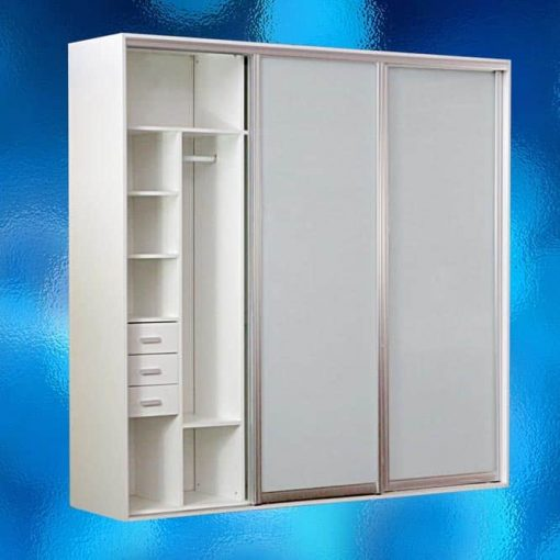 Wardrobe With White Frosted Glass Sliding Doors – Model: 14AR-WS02. Freestanding Wardrobes. Body Colour: Warm White. Size: W2400 x D600 x H2360mm. Includes Interior Fittings, Top Storage, Double Hanger, Long Hanger, Shoe Shelf, Tie Storage, Pants Hanger, 3 Drawers, 3 Shelves, End Panels & 3 Sliding Frosted Glass Doors. All Designed To Provide You With The Maximum Hanging And Storage Space. Flat Packed In 4 Boxes For Assembly. Savvysavers.com.au South Australia