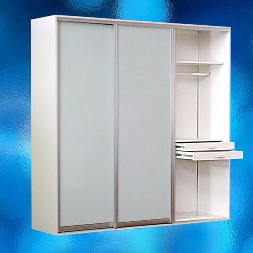 Wardrobe With White Frosted Glass Sliding Doors – Model: 14AR-WS02. Freestanding Wardrobes. Body Colour: Warm White. Size: W2400 x D600 x H2360mm. Includes Interior Fittings, Top Storage, Double Hanger, Long Hanger, Shoe Shelf, Tie Storage, Pants Hanger, 3 Drawers, 3 Shelves, End Panels & 3 Sliding Frosted Glass Doors. All Designed To Provide You With The Maximum Hanging And Storage Space. Flat Packed In 4 Boxes For Assembly