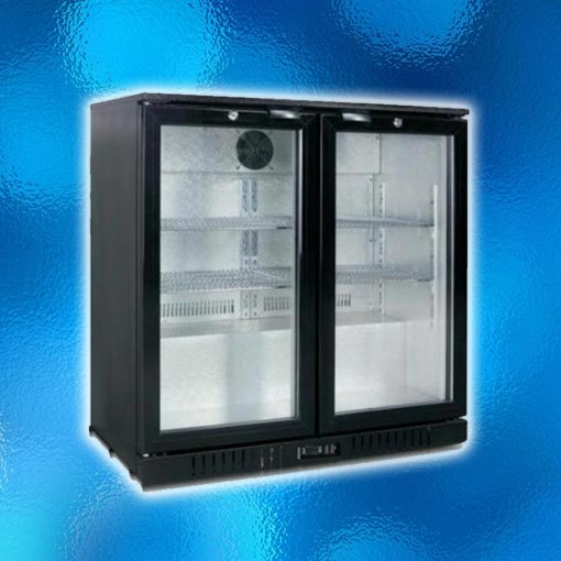 Commercial Hotel Display Fridge - 2 Glass Door, Capacity: 208Ltr, Brand: Stubie Chill. Model: LG-208HC, 220-240V/ 50HZ/190W. Power Consumption: 1.8 KW/24h. Colour: Black, Size: 900(W) x 530(D) x 835mm (H). Australian Standard/ MEPS Certified. Self Closing Hinged Doors, 4 Adjustable Steel Shelves, Fan-forced Evaporation Cooling, Digital Control With LED Display. RRP: $1127.50