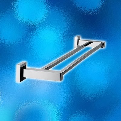 Wall Double Towel Rail - Square, Model: 6080. Length: 900mm. Brass Construction, Chrome Finish, Brand New In Carton. IRP: $138.00