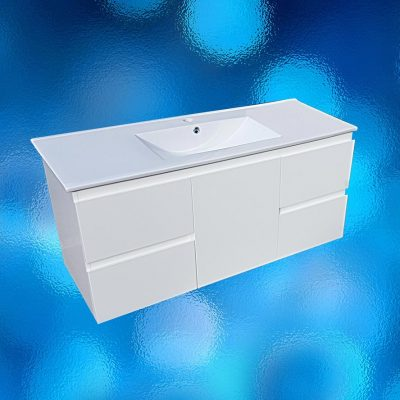 Vanity, wall hung, 1200mm, white, ceramic top