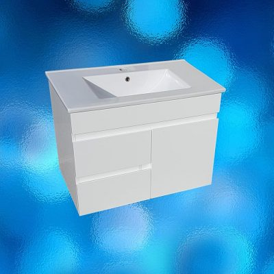 Vanity, wall hung, 750mm, white, ceramic top 1